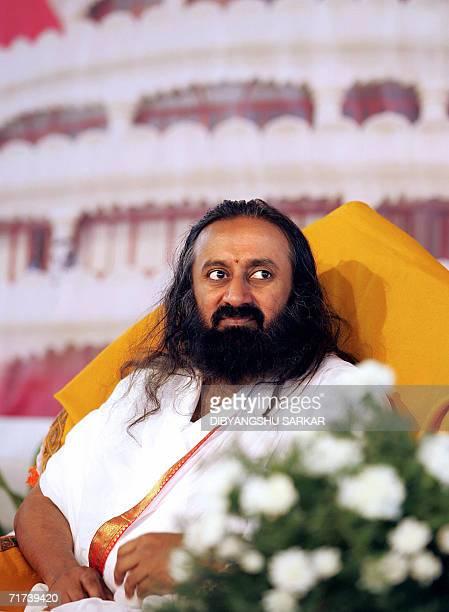 Founder of the non profit spiritual organisation Art of Living International Center Sri Sri Ravi Shankar attends a camp in the main prayer hall of...