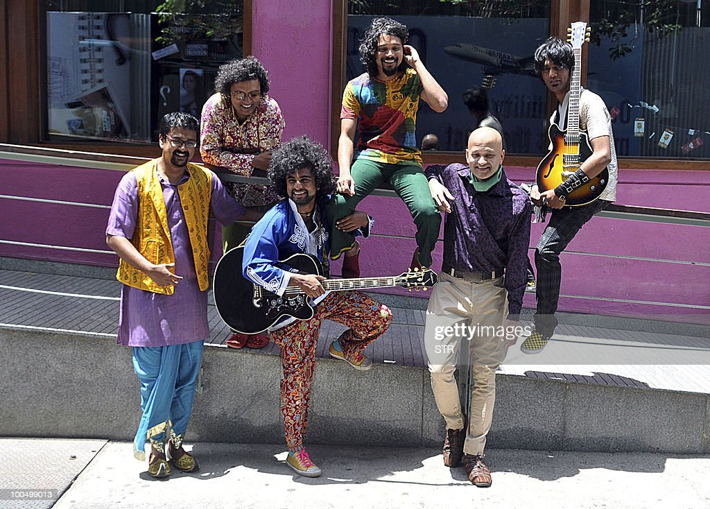 Bangalore-based band Swarathna pose for photographs during the unveiling of their video 'Pyaasi' at the Hard Rock Cafe in Mumbai on May 25, 2010.