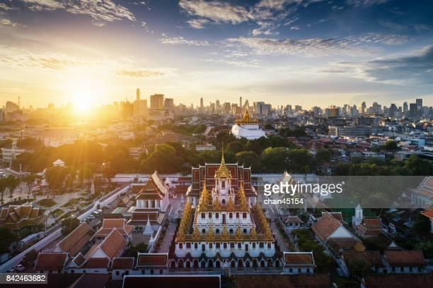 Bangkok aerial view in cityscape of Thai Buddha Temple at Bangkok, Thailand.