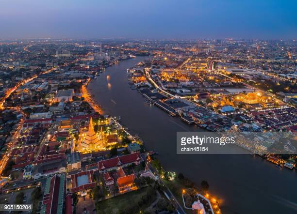 Bangkok aerial view in Thailand with Wat Phra Kaew Temple, Royal grand palace, Wat Arun temple, Wat Pho temple and Chao Phra Ya River. All is Landmark of destination travel in Bangkok Thailand.