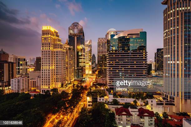 Bangkok at Night Modern Skyscrapers Cityscape Thailand