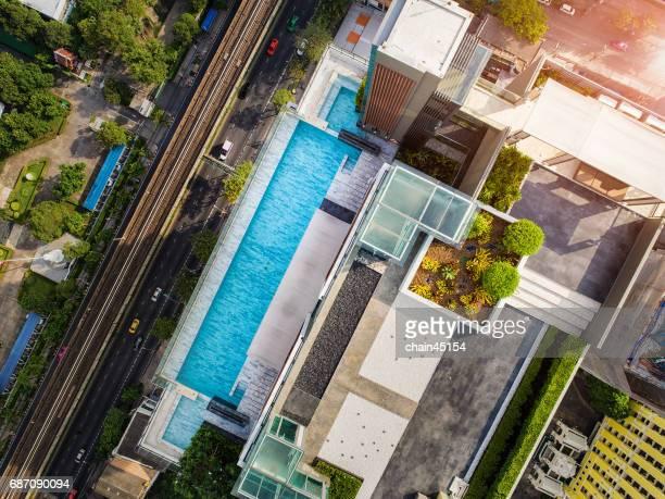 Bangkok bird eye view with sky swimming pool.