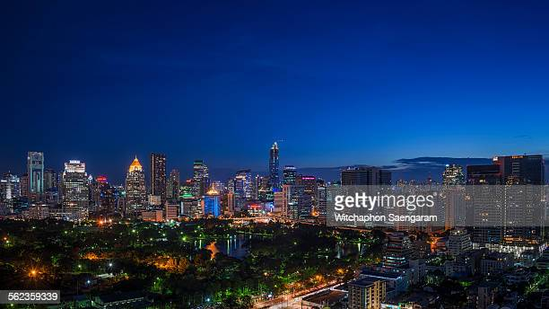 Bangkok business district in blue hour