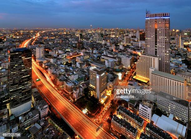 Bangkok capital city in the Thailand during twilight time at Bangkok, Thailand.