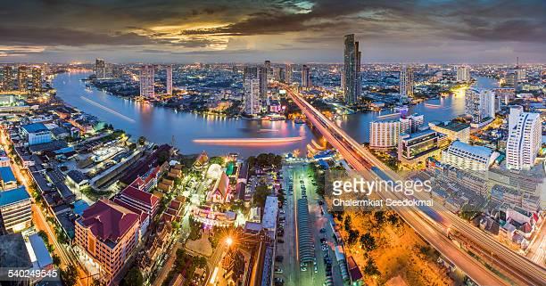 Bangkok Chao Phraya river Panorama