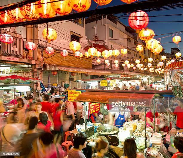bangkok, chinatown during chinese new year - bangkok stock pictures, royalty-free photos & images