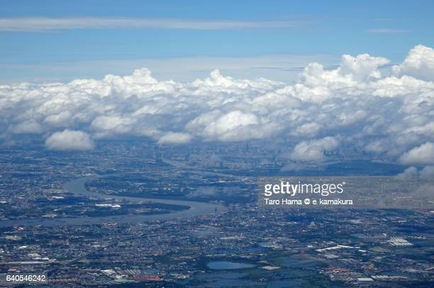 Bangkok city and Chao Phraya river aerial view from airplane