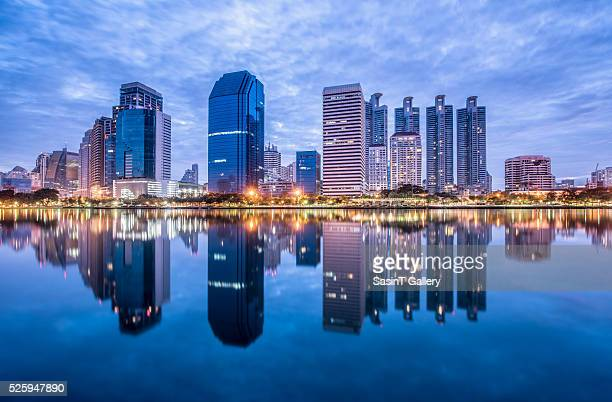 Bangkok city downtown at morning with reflection