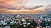 Bangkok city downtown with sunset sky ,Bangkok is the most populated city in Southeast Asia. Bangkok , Thailand.
