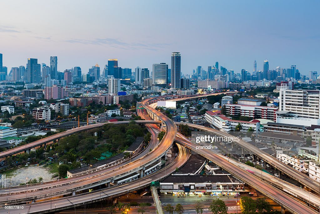 Bangkok city road interchanged with downtown background : Stock Photo