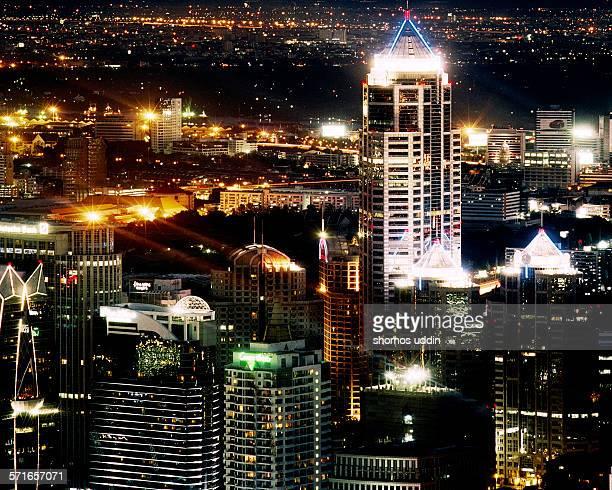 Bangkok city skyline at night - elevated view