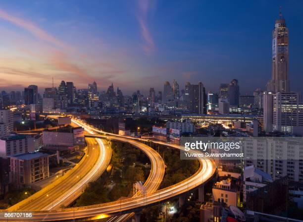 Bangkok city skyline business district.