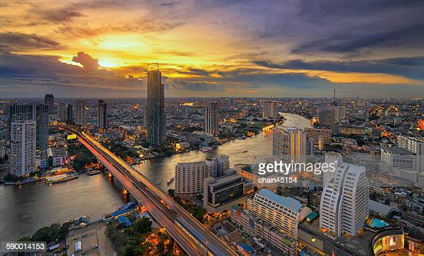 Bangkok City with river in sunset, Thailand.