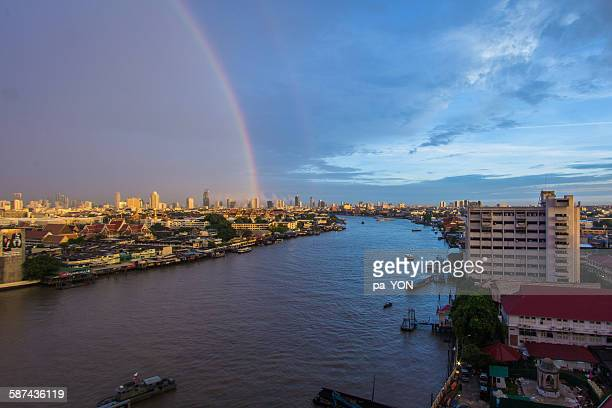 bangkok cityand river view with rainbow - siriraj hospital stock pictures, royalty-free photos & images