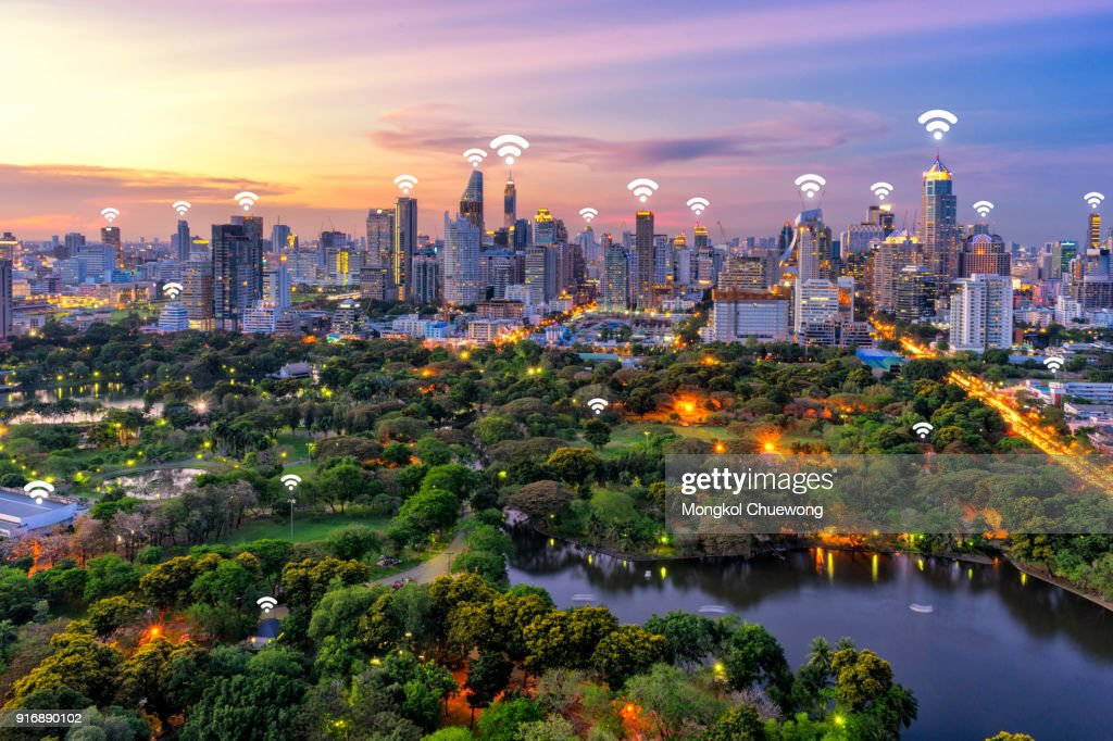 Bangkok cityscape and lumpini park at Bangkok Thailand. Network connection concept , Wifi at business district : Stock Photo