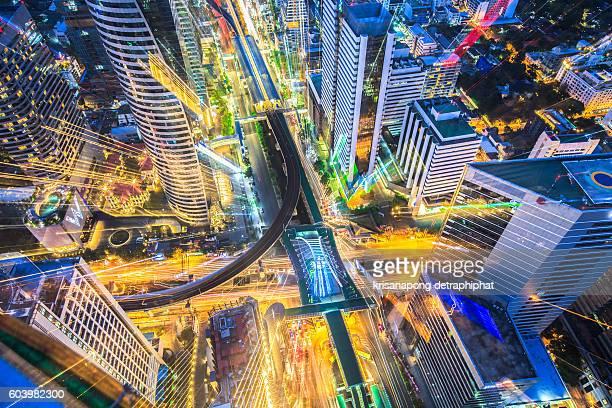 Bangkok cityscape. Bangkok night view in the business district at
