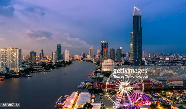 Bangkok cityscape. Bangkok night view in the business district. at twilight