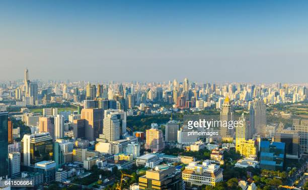 bangkok cityscape, business district with high building at dusk (bangkok, thailand) - primeimages stock pictures, royalty-free photos & images