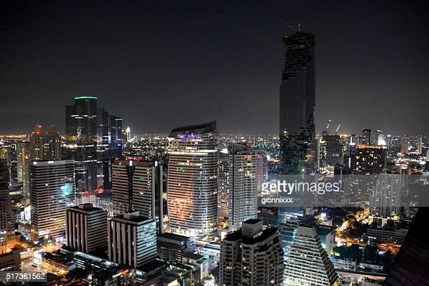 Vista da cidade de Banguecoque, noite, Tailândia