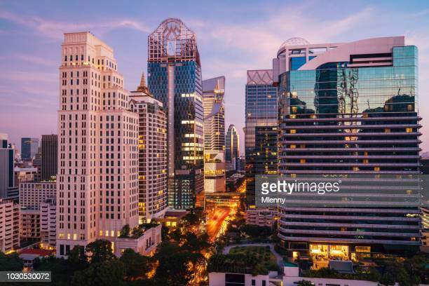Bangkok Cityscape Modern Skyscrapers at Sunset Thailand