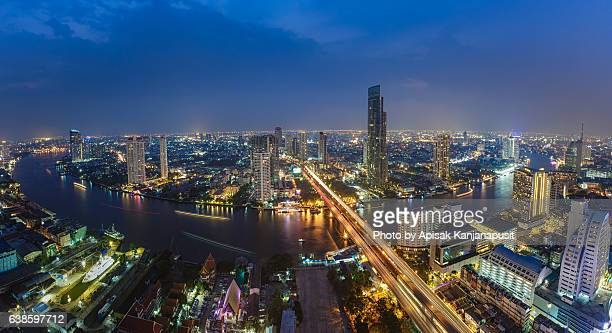 Bangkok Cityscape  with Chao Phraya river bank