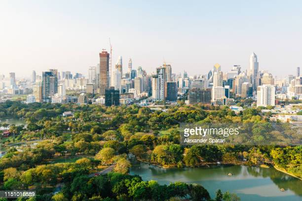 bangkok cityscape with lumpini park and modern skyscrapers, aerial view - バンコク ストックフォトと画像