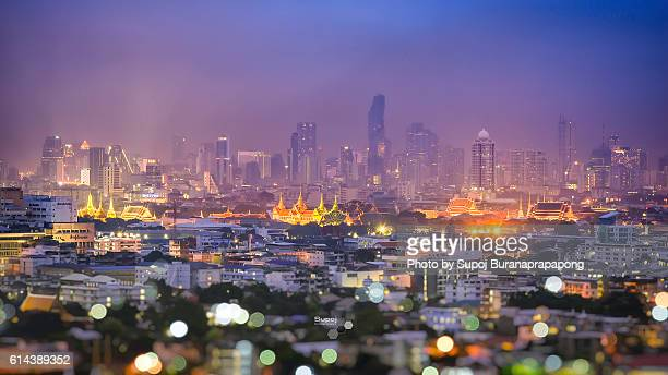 Bangkok cityscape with Wat Phra Kaew, Temple of the Emerald Buddha, Bangkok, Thailand