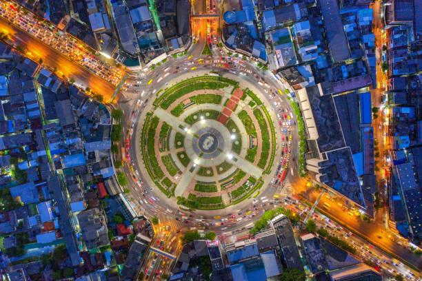 Bangkok cityscaprs,Top view Road roundabout with car lots Wongwian Yai in Bangkok,Thailand.