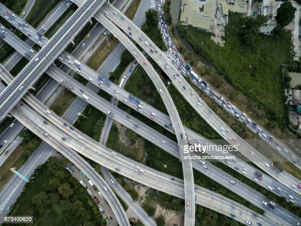 Bangkok elevated road junction and interchange overpass , Bangkok Thailand.