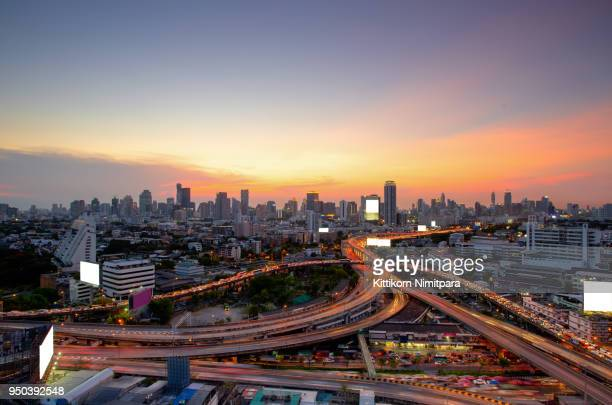 Bangkok Expressway and Highway top view during twilight time ,expressway is an important infrastructure for rush hour in Bangkok , Bangkok,Thailand
