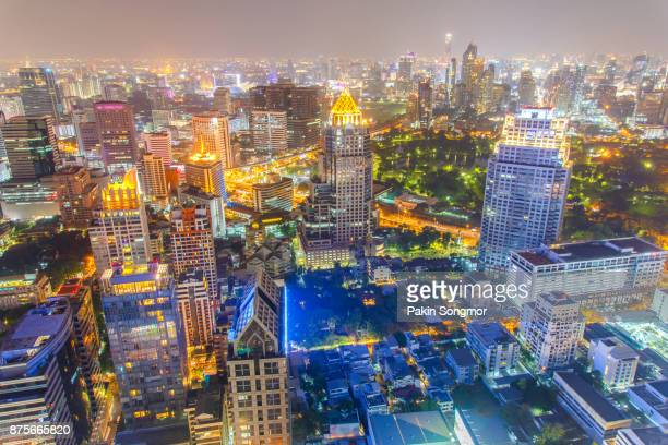 Bangkok financial district, business building and shopping mall center at Southeast Asia