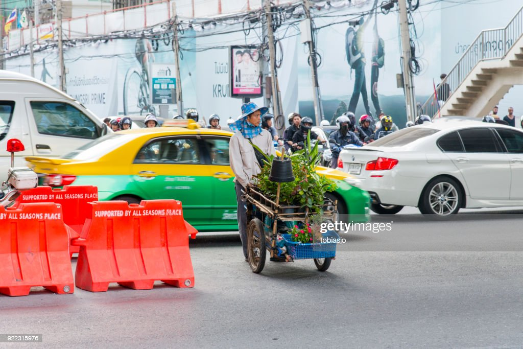 Bangkok man selling plants : Stock Photo