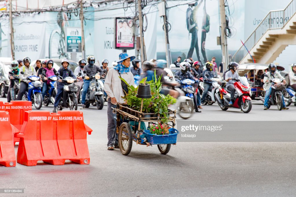 Bangkok man selling plants : Stock Photo