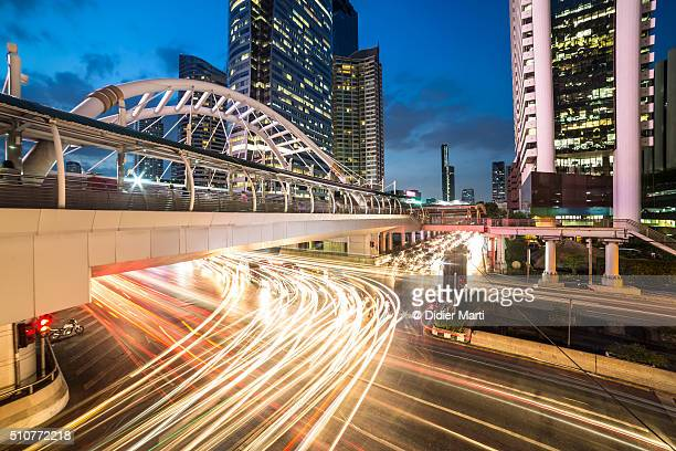 Bangkok night rush in Sathorn business district