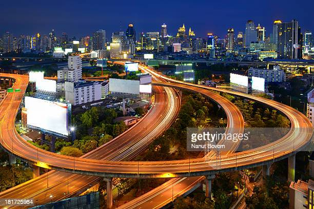 bangkok night_expressway : thailand - billboard highway stock pictures, royalty-free photos & images