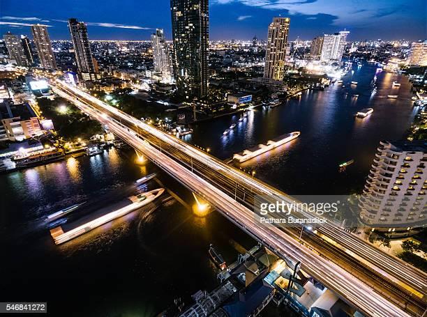 Bangkok nights-cape at Taksin Bridge and Chaophaya River, Bangkok