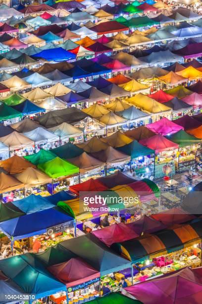 bangkok, rca area, talat rot fai 2 outdoor market, high angle view - capital cities stock photos and pictures