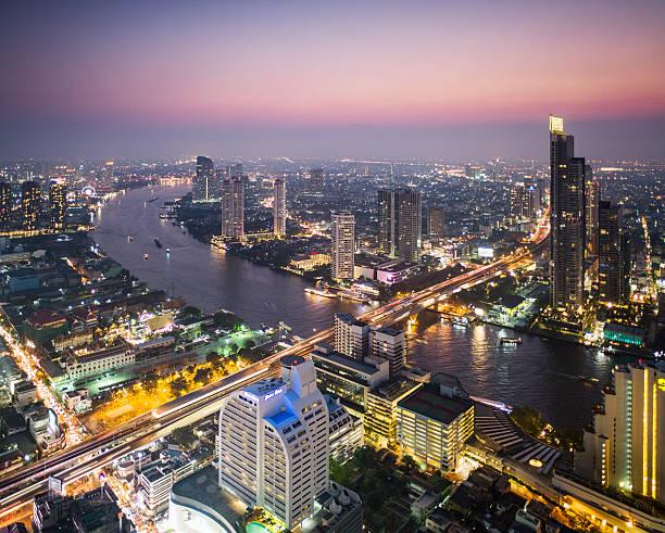 Bangkok skyline and Chao Phraya river