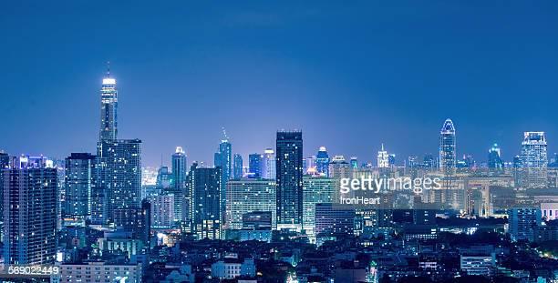 Bangkok skyline blue tone