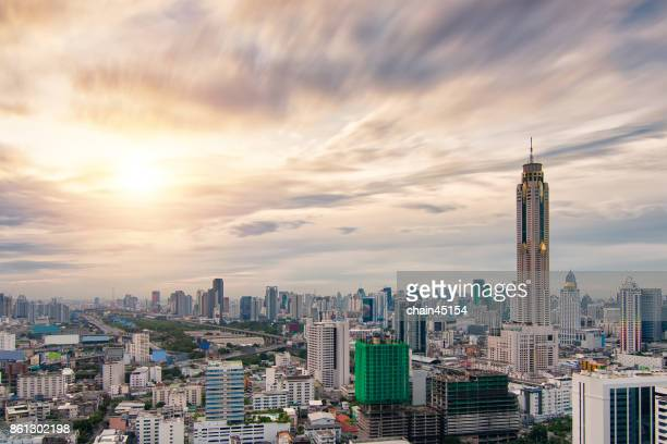 Bangkok skyline, Business district with high building at sunshine day, Bangkok, Thailand