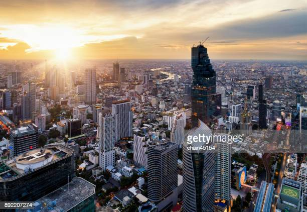 Bangkok skyline from aerial view in the business area during sunset.