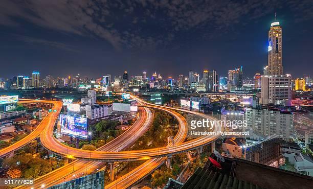 Bangkok skylines and expressways at dawn