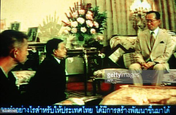 Television grab of Thai King Bhumibol Adulyadej , when he urged the then-military government Suchinda Kraprayoon and pro-democracy protesters...