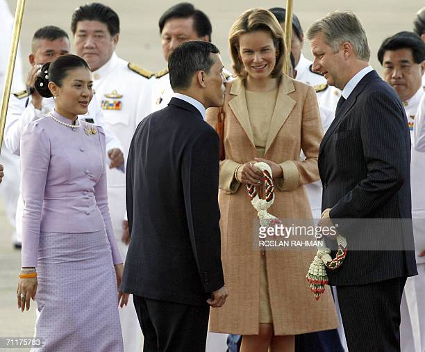 Belgian Crown Prince Philippe and Princess Mathilde greeted by Thai Crown Prince Maha Vajiralongkorn and Princess Srirasmi upon arrival at the...