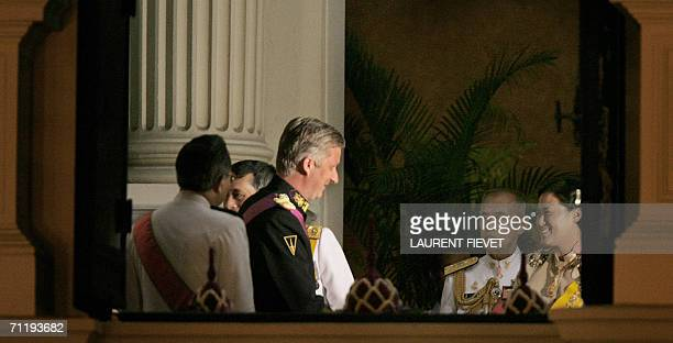 Belgium Crown Prince Philippe is welcomed by Thai Crown Princess Maha Chakri Sirindhorn upon arriving at the Grand Palace in Bangkok, 13 June 2006...