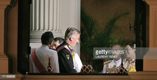 Belgium's Crown Prince Philippe is welcomed by Thai Crown Princess Maha Chakri Sirindhorn upon arrival at the Grand Palace in Bangkok, 13 June 2006...