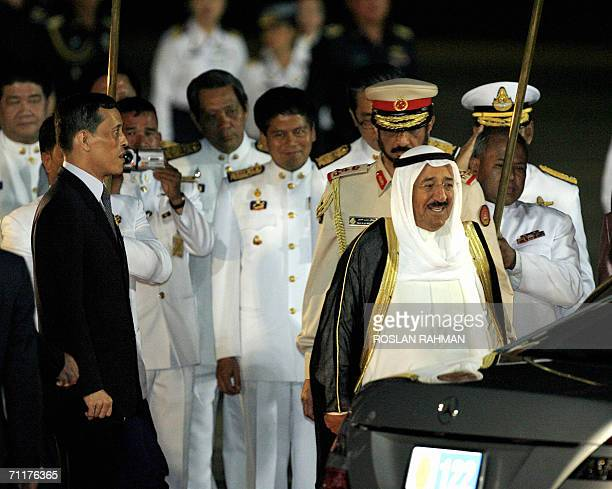 Emir of Kuwait Sheikh Sabah AlAhmad Al Jaber Al Sabah greeted by Thai Crown Prince Maha Vajiralongkorn upon arrival at the Military Airport in...