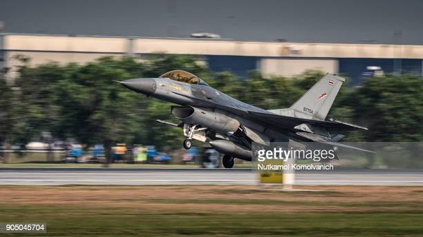 Bangkok, Thailand - January 13 2018 ; F16 military flight landing at Donmeung Airport