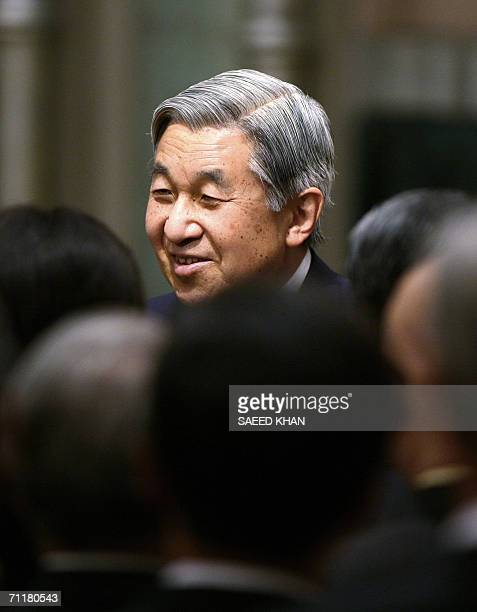 Japanese Emperor Akihito meets Japanese expatriates at a hotel in Bangkok 12 June 2006 Emperor Akihito and Empress Michiko are here to attend Thai...