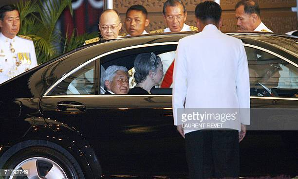 Japanese Emperor and Empress Michiko arrive at the Grand Palace in Bangkok, 13 June 2006 for the official banquet. Royalty from across Asia, Europe,...